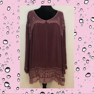 NWT Johnny Was Rose Eyelet Lace Tunic Rayon XL